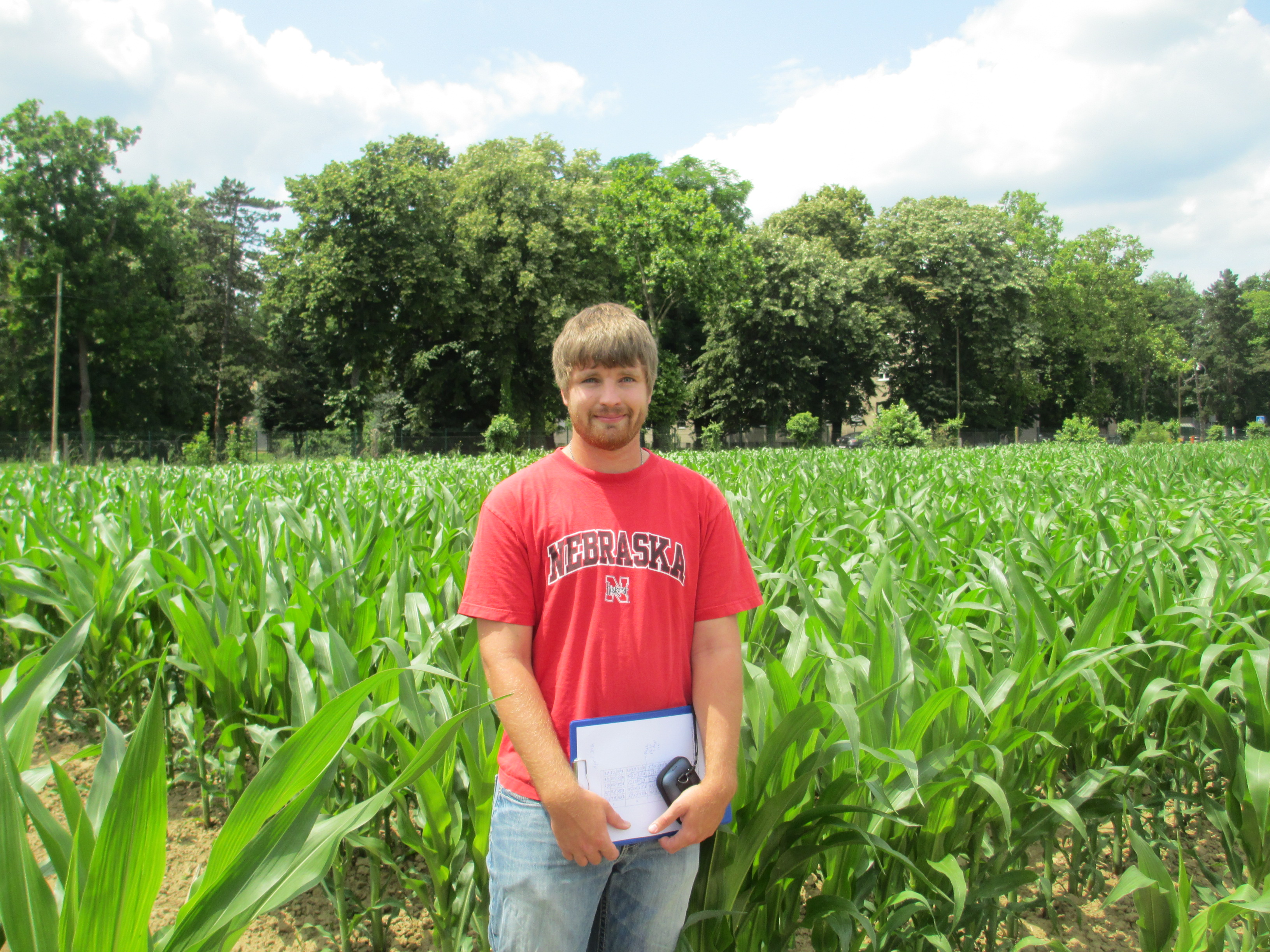 Nebraska graduate student Jeremy Milander shown with maize crop in Croatia