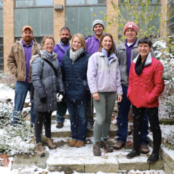 Snow doesn't stop #UNLAgroHort #byf_kim & #tljames9 from giving tour of #BYFUNL Garden & Keim Courtyard to #KinghornGardens guests & alumni. #UNL #InOurGritOurGlory