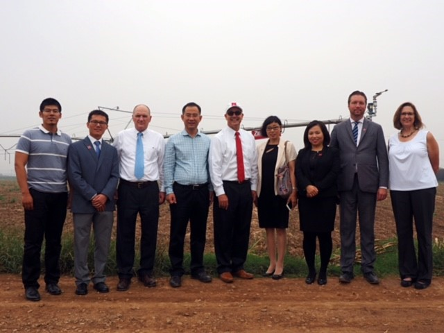 University and state leadership with Chinese partners at demonstration farm