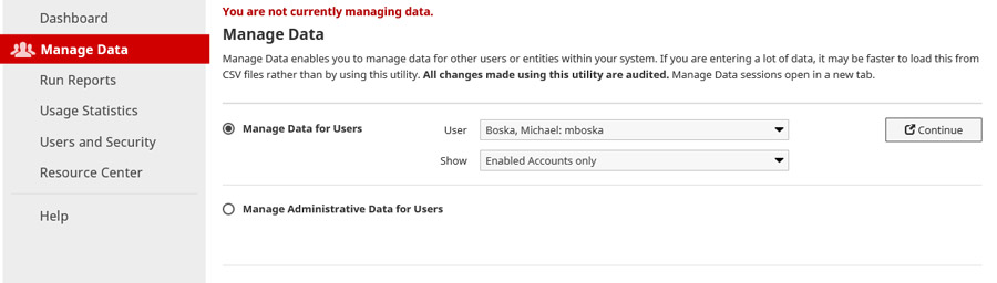 sample screen for Manage Data - select user