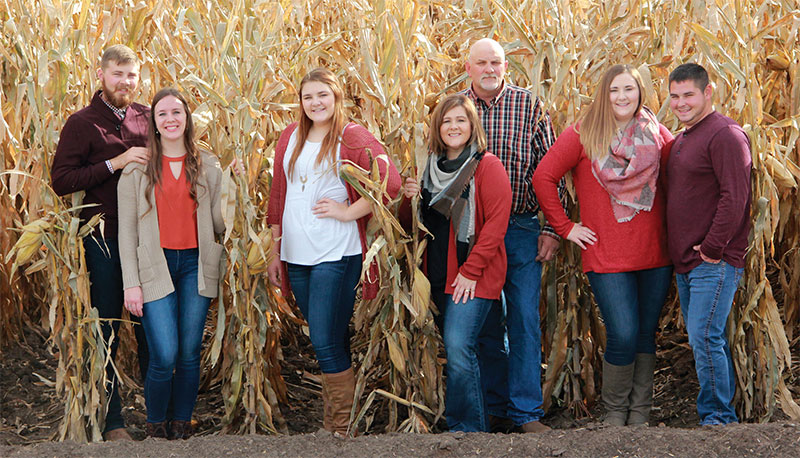 Pallas family in corn field