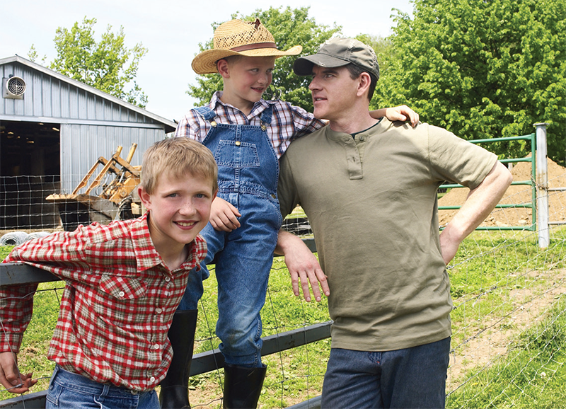 Father and two sons on the ranch