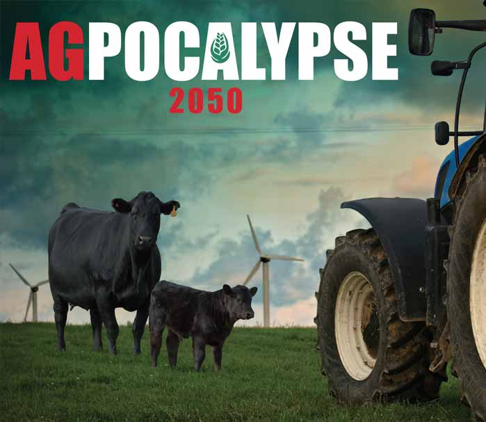 Agpocalypse 2050 game with cows and tractor in wind turbine field