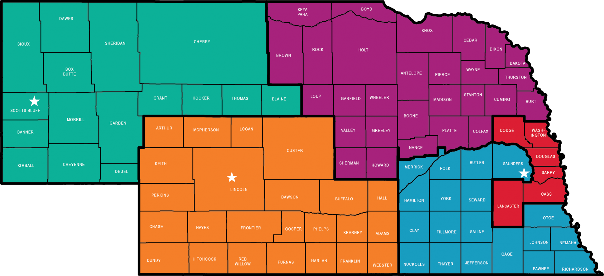 Nebraska's Cooperative Extension Districts map