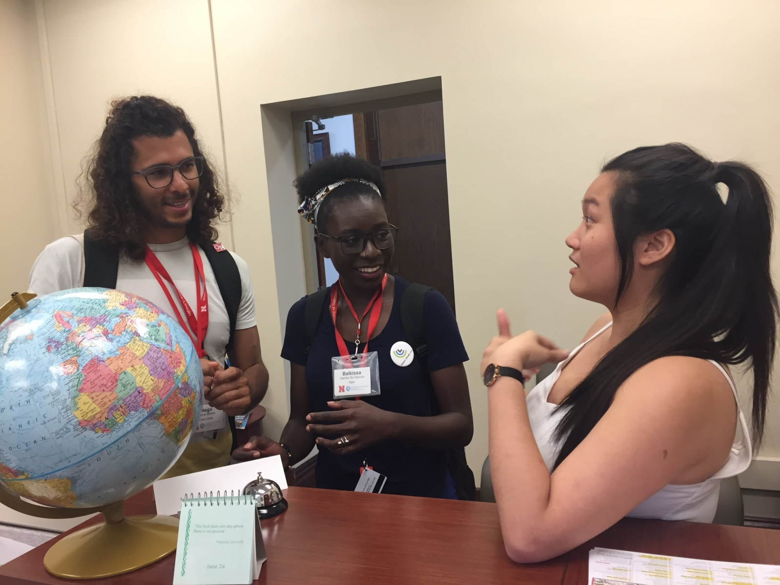 Yi Xuen Tay, a former intern and later staff member, engages visiting Mandela Washington Fellows, Diego and Balkissa (from Cabo Verde and Niger, respectively) in the space which will now serve as the physical Global Learning Hub, in Agricultural Hall 202