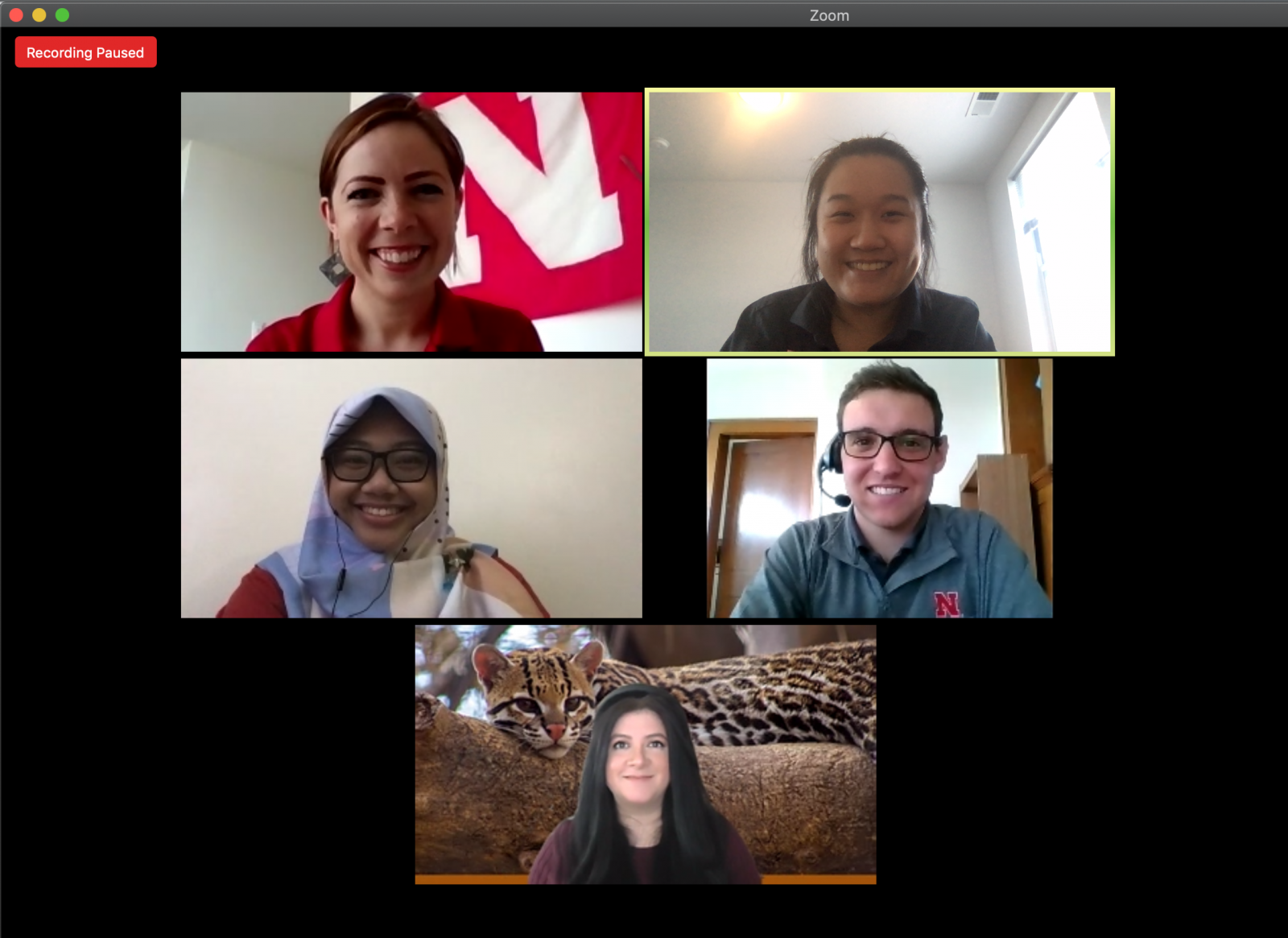Zoom meeting screenshot featuring past and present Fulbright scholars who shared their Nebraska experiences (second row l to r: Kiki Rizki Amalia and Agustín Olivo, third row: Gabriela Palomo-Munoz) participate in an online panel discussion, moderated by IANR Global Staff Brianne Wolf and Yi Xuen Tay (first row, l to r)